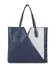 Sam Edelman Emery Colorblock Leather Tote Navy