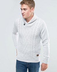 Threadbare Shawl Neck Cable Knit Jumper White