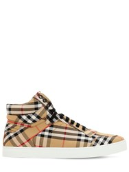 Burberry Vintage Check Canvas High Top Sneakers Camel