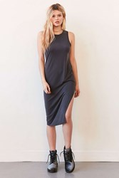 Silence And Noise Knit Side Slit Bodycon Midi Dress Washed Black