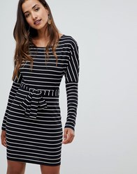 Girl In Mind Long Sleeve Belted Striped Bodycon Dress Black