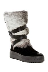 Manas Design Genuine Rabbit Fur Trimmed Platform Boot Black