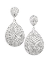 Saks Fifth Avenue Cubic Zirconia Paved Teardrop Earrings Rhodium