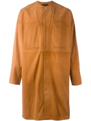 Qasimi Concealed Fastening Collarless Coat Brown