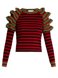 Gucci Striped Ruffled Shoulder Wool Sweater Red Multi