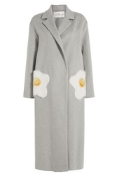 Anya Hindmarch Eggs Virgin Wool Coat With Mink Fur Grey