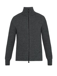 Ami Alexandre Mattiussi Zip Through Ribbed Wool Sweater Grey