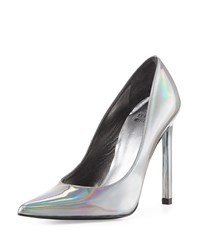 Queen Iridescent Point Toe Pump Pewter Stuart Weitzman Silver