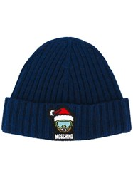 Moschino Ribbed Beanie Blue