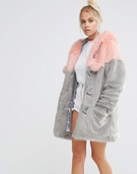 Lazy Oaf Faux Fur Duffle Coat With Pastel Panels And Pom Poms Multi
