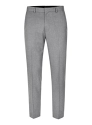 Topman Mid Grey Grey Flannel Relaxed Fit Cropped Suit Trousers
