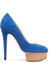 Charlotte Olympia Dolly Suede Pumps Bright Blue