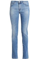 Ag Adriano Goldschmied Faded Mid Rise Skinny Jeans Light Denim