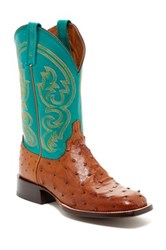 Lucchese Genuine Ostrich Leather Boot Wide Width Available Black