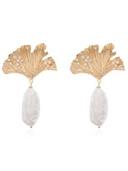Apples And Figs 24Kt Gold Vermeil Love Potion Leaf Pearl Drop Earrings