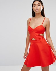 Wyldr In Love Cut Out Skater Dress Orange