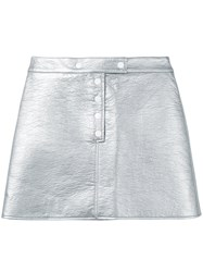 Courreges Metallic Mini Skirt Women Cotton Polyurethane Acetate Cupro 34 Grey