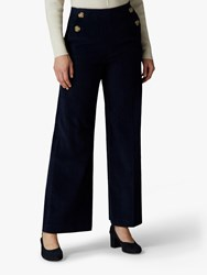 Jaeger Wide Leg Cord Trousers Navy