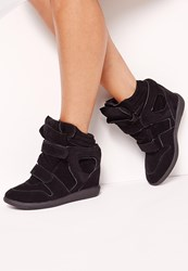 Missguided Wedge Velcro Strap High Top Trainers Black Black