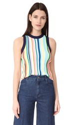 Milly Vertical Stripe Shell Top Rainbow