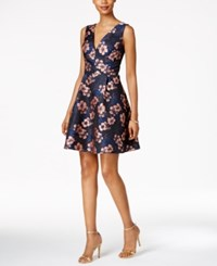 Betsey Johnson Floral Jacquard Fit And Flare Dress Navy Blush