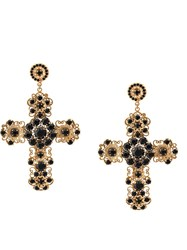 Dolce And Gabbana Embellished Cross Earrings Gold