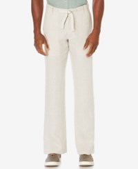 Perry Ellis Men's Big And Tall Linen Drawstring Pants Natural Linen