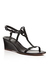 Tory Burch Miller T Strap Wedge Sandals Black