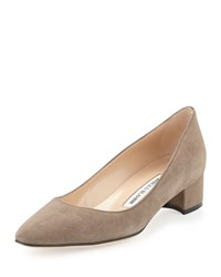 Manolo Blahnik Listony Suede Low Heel Pump Taupe Brown