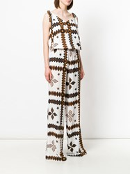 Fisico Patterned V Neck Jumpsuit White