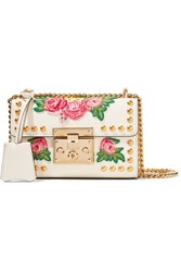 Gucci Padlock Small Appliqued Studded Leather Shoulder Bag White
