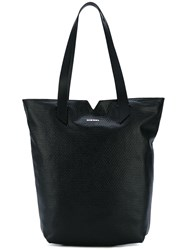 Diesel Logo Plaque Tote Bag Women Calf Leather One Size Black
