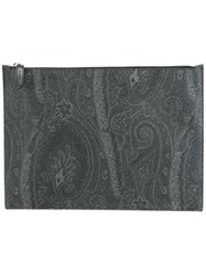 Etro Tonal Print Zipped Clutch Grey