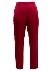 Givenchy Straight Leg Satin Cropped Trousers Dark Pink
