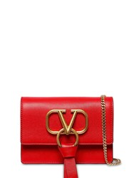 Valentino Garavani Vring Ribbon Leather Shoulder Bag Rouge Pure