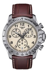 Tissot Men's V8 Chronograph Leather Strap Watch 43Mm Brown Ivory Silver