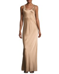 Vince Bias Seam Sateen Maxi Dress Camel