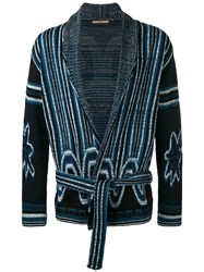 Nuur Shawl Neck Patterned Cardigan Men Cotton 50 Blue