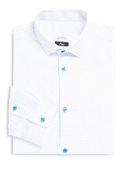 Versace Printed Trend Fit Dress Shirt White Light