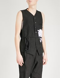 Ann Demeulemeester Patch Embroidered Wool Blend Waistcoat Black White