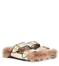 Prada Shearling Lined Leather Sandals Gold