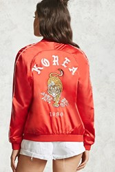 Forever 21 Korea Embroidered Satin Jacket Red White