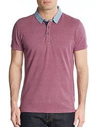 Saks Fifth Avenue Trim Fit Printed Cotton Polo Burgundy