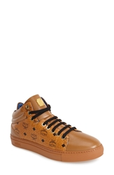 Mcm Coated Canvas And Leather Low Top Sneaker Women Cognac