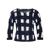 Oui Button Down Check Cardigan Dark Blue White