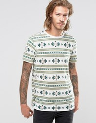 Asos T Shirt In Linen Mix With Aztec Print Egret Green