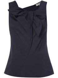 Carolina Herrera Sleeveless Blouse With Front Ruffle Detail Women Cotton Spandex Elastane 6 Blue