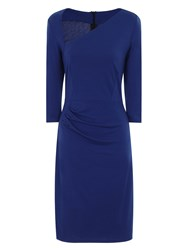 Hotsquash Asymmetric Neck Dress In Clever Fabric Royal Blue Marl