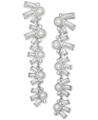 Jewel Badgley Mischka Crystal And Imitation Pearl Linear Drop Earrings Silver