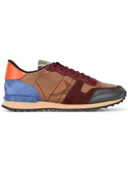 Valentino Panel Lace Up Sneakers Men Cotton Leather Suede Rubber 40.5 Red